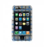 iPhone 3G Premium Diamond Glitter Case - Clear with Blue Check