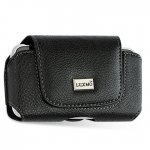 IP2 Leather Horizontal Pouch with Flip - Black